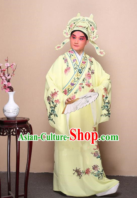 Traditional Chinese Beijing Opera Niche Yellow Dress Clothing Complete Set, China Peking Opera Young Man Costume Embroidered Chrysanthemum Robe Opera Costumes