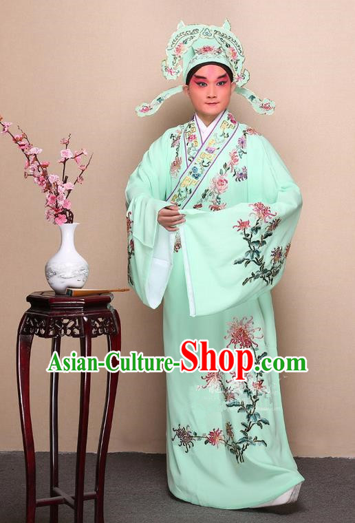 Traditional Chinese Beijing Opera Niche Green Dress Clothing Complete Set, China Peking Opera Young Man Costume Embroidered Chrysanthemum Robe Opera Costumes