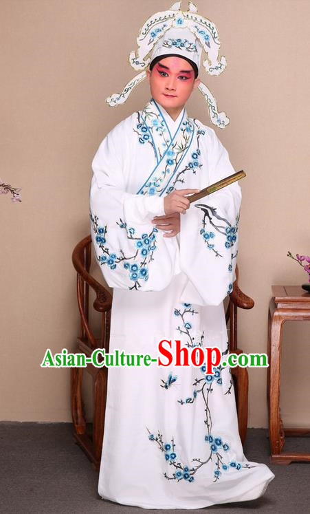 Traditional Chinese Beijing Opera Niche White Dress Clothing Complete Set, China Peking Opera Young Man Costume Embroidered Plum Blossom Robe Opera Costumes