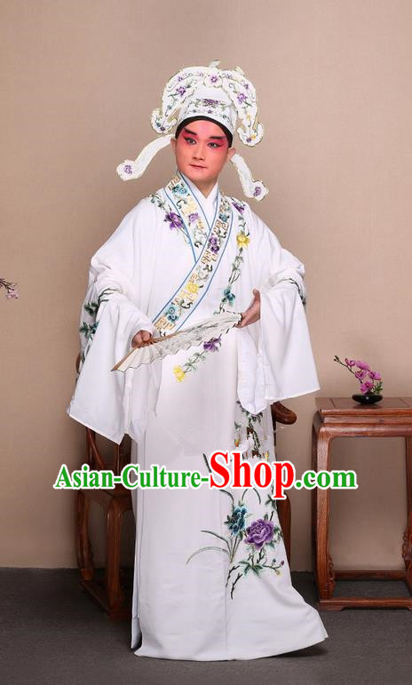 Traditional Chinese Beijing Opera Niche White Dress Clothing and Boots Fan Complete Set, China Peking Opera Gifted Youth Man Costume Embroidered Robe Opera Costumes