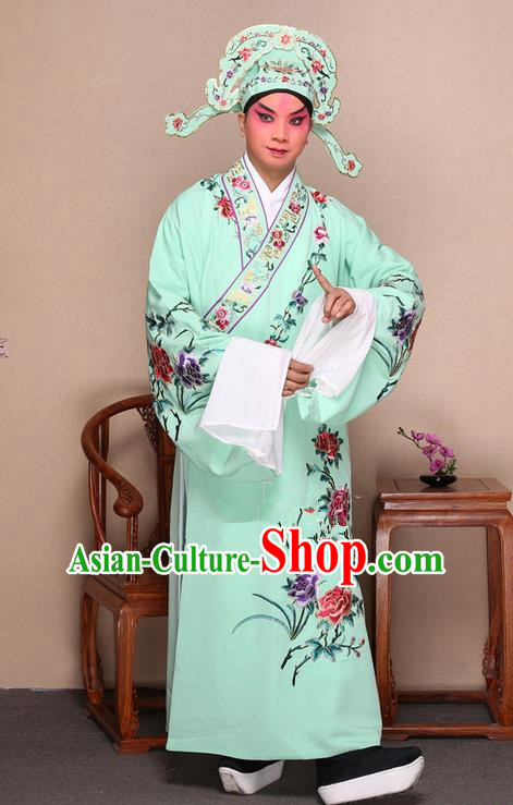 Traditional Chinese Beijing Opera Niche Green Dress Clothing and Boots Fan Complete Set, China Peking Opera Gifted Youth Man Costume Embroidered Robe Opera Costumes