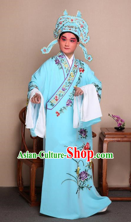 Traditional Chinese Beijing Opera Niche Light Blue Dress Clothing and Boots Fan Complete Set, China Peking Opera Gifted Youth Man Costume Embroidered Robe Opera Costumes
