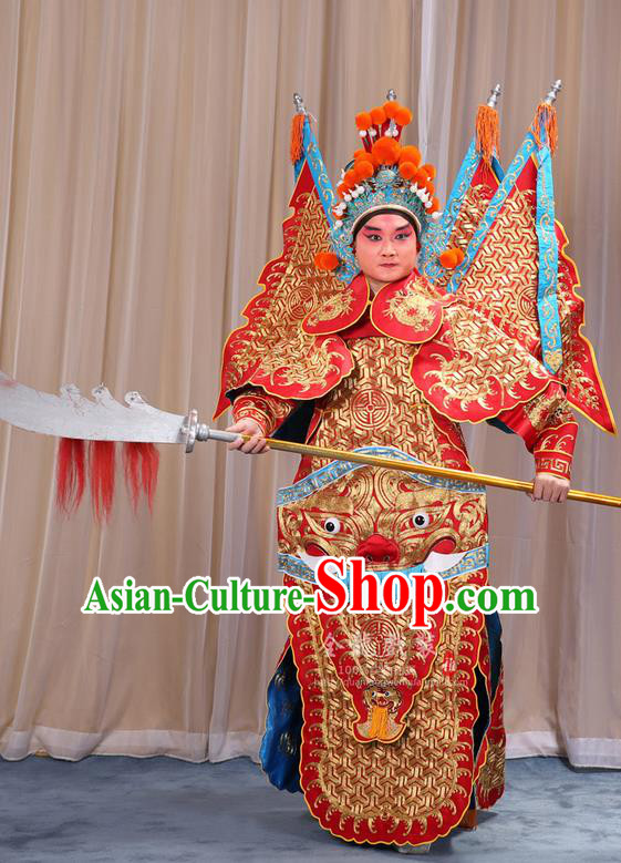 Traditional Chinese Beijing Opera Military Officer Armour Red Clothing and Boots Complete Set, China Peking Opera Martial General Role Costume Embroidered Opera Tiger Head Costumes