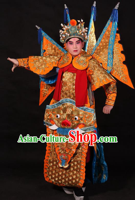 Traditional Chinese Beijing Opera Military Officer Armour Yellow Clothing and Boots Complete Set, China Peking Opera Martial General Role Costume Embroidered Opera Tiger Head Costumes