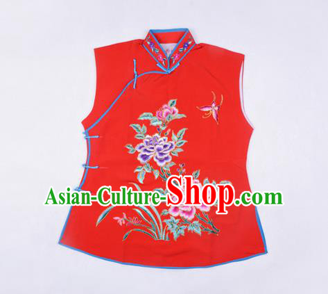 Traditional Chinese Beijing Opera Servant Girl Red Vests, China Peking Opera Young Lady Costume Embroidered Opera Waistcoat Costumes