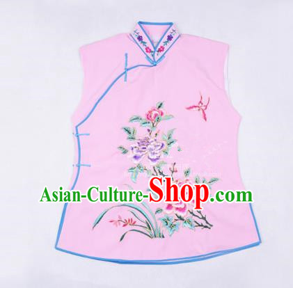 Traditional Chinese Beijing Opera Servant Girl Pink Vests, China Peking Opera Young Lady Costume Embroidered Opera Waistcoat Costumes