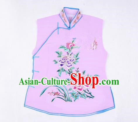 Traditional Chinese Beijing Opera Servant Girl Light Purple Vests, China Peking Opera Young Lady Costume Embroidered Opera Waistcoat Costumes