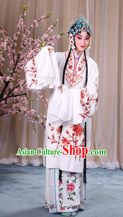 Traditional Chinese Beijing Opera Shaoxing Opera Young Female Peony Clothing and Headwear Shoes Complete Set, China Peking Opera Diva Role Hua Tan Costume Embroidered Opera Costumes