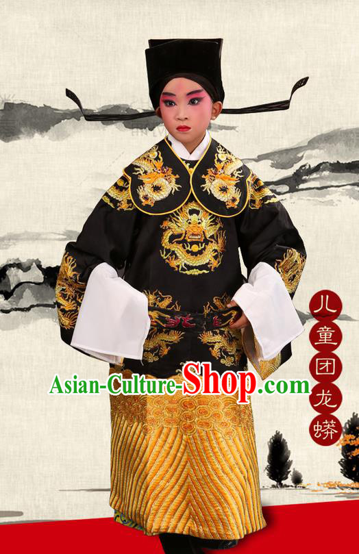 Traditional Chinese Beijing Opera Male Black Clothing and Boots Complete Set, China Peking Opera His Royal Highness Costume Embroidered Robe Dragon robe Opera Costumes for Kids