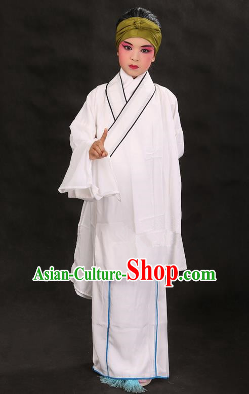 Traditional Chinese Beijing Opera Old Female White Clothing and Shoes Complete Set, China Peking Opera Children Pantaloon Costume Embroidered Clothing Opera Costumes for Kids