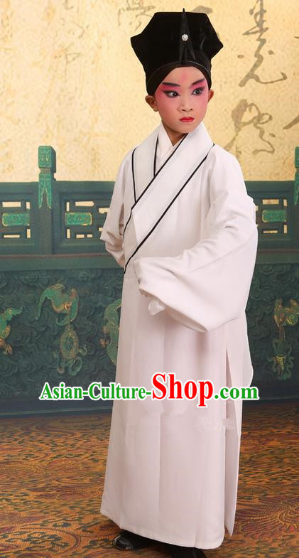 Traditional Chinese Beijing Opera Children Scholar White Clothing and Headwear Shoes Complete Set, China Peking Opera Young Man Costume Xu Xian Robe Opera Costumes for Kids