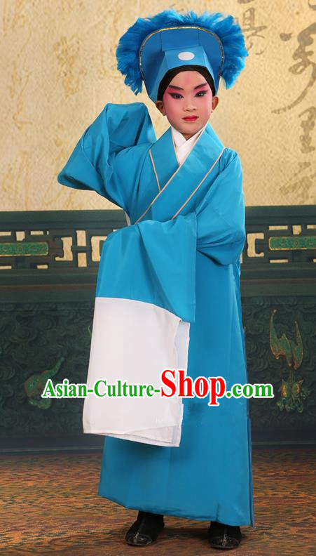Traditional Chinese Beijing Opera Children Scholar Blue Clothing and Headwear Shoes Complete Set, China Peking Opera Young Man Costume Xu Xian Robe Opera Costumes for Kids