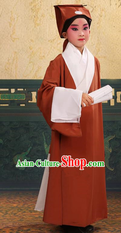 Traditional Chinese Beijing Opera Children Scholar Bronze Clothing and Headwear Shoes Complete Set, China Peking Opera Young Man Costume Xu Xian Robe Opera Costumes for Kids