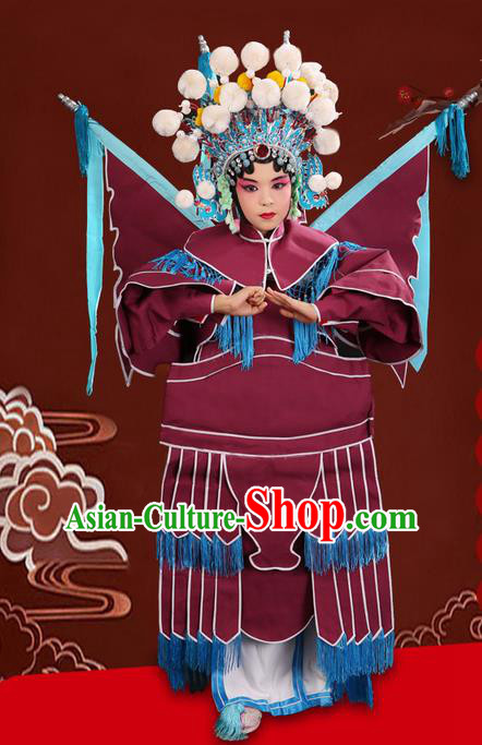 Traditional Chinese Beijing Opera Magic Warriors Purple Red Clothing and Flagpole Shoes Complete Set, China Peking Opera Blues Costume Embroidered Robe Opera Costumes for Kids