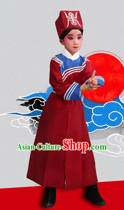 Traditional Chinese Beijing Opera Government Runners Red Clothing and Shoes Complete Set, China Peking Opera Buster Constable Costume Opera Costumes for Kids