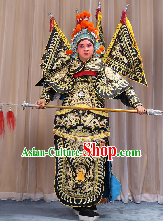 Traditional Chinese Beijing Opera Takefu Green Armour Black Clothing and Boots Complete Set, China Peking Opera Martial General Role Costume Embroidered Opera Costumes