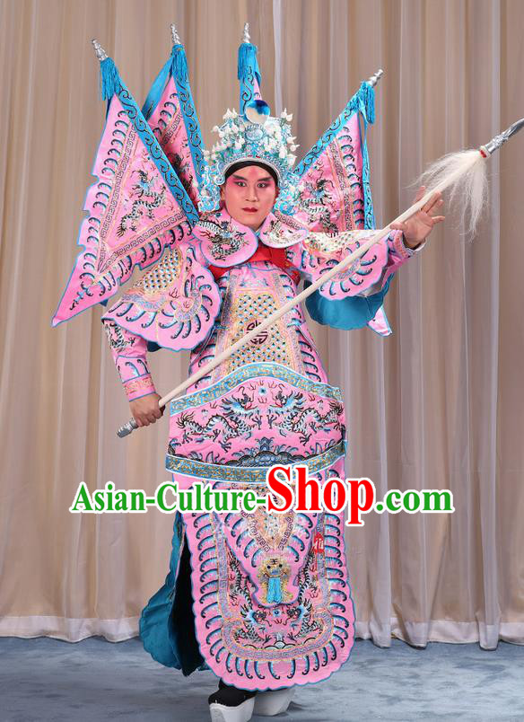 Traditional Chinese Beijing Opera Takefu Green Armour Pink Clothing and Boots Complete Set, China Peking Opera Martial General Role Costume Embroidered Opera Costumes