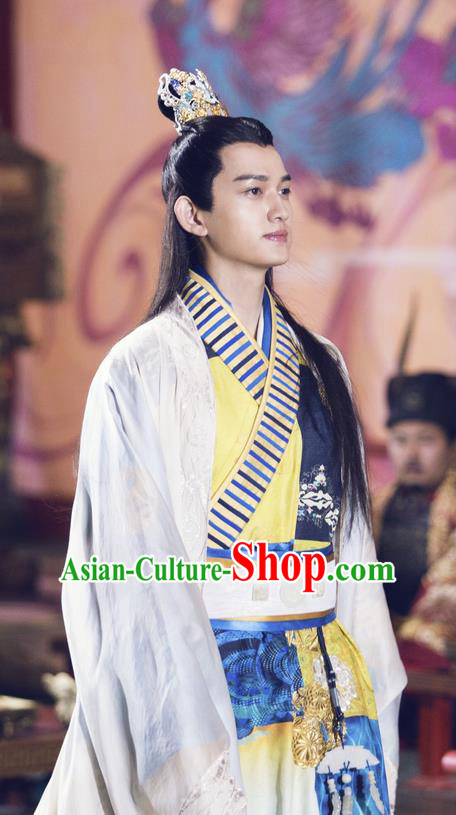 Traditional Chinese Ancient Warring States Time Imperial Prince Costume, Song of Phoenix Chu Dynasty Qu Yuan Clothing and Handmade Headpiece Complete Set for Men