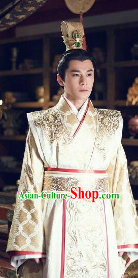Traditional Chinese Ancient Warring States Time Imperial Emperor Costume, Song of Phoenix Chu Dynasty King Clothing and Handmade Headpiece Complete Set for Men