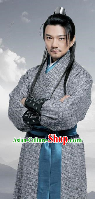 Traditional Chinese Ancient Warring States Time Swordsman Costume, Song of Phoenix Chu Dynasty Assassin Clothing and Handmade Headpiece Complete Set for Men