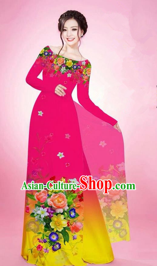 Traditional Top Grade Asian Vietnamese Ha Festival Printing Flowers Rosy Ao Dai Dress, Vietnam National Jing Nationality Off Shoulder Cheongsam Costumes for Women