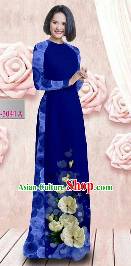 Traditional Top Grade Asian Vietnamese Ha Festival 3D Printing Bride Ao Dai Dress, Vietnam National Jing Nationality Princess Royalblue Cheongsam Costumes for Women