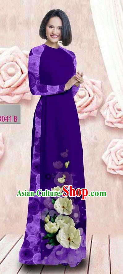 Traditional Top Grade Asian Vietnamese Ha Festival 3D Printing Bride Ao Dai Dress, Vietnam National Jing Nationality Princess Deep Purple Cheongsam Costumes for Women