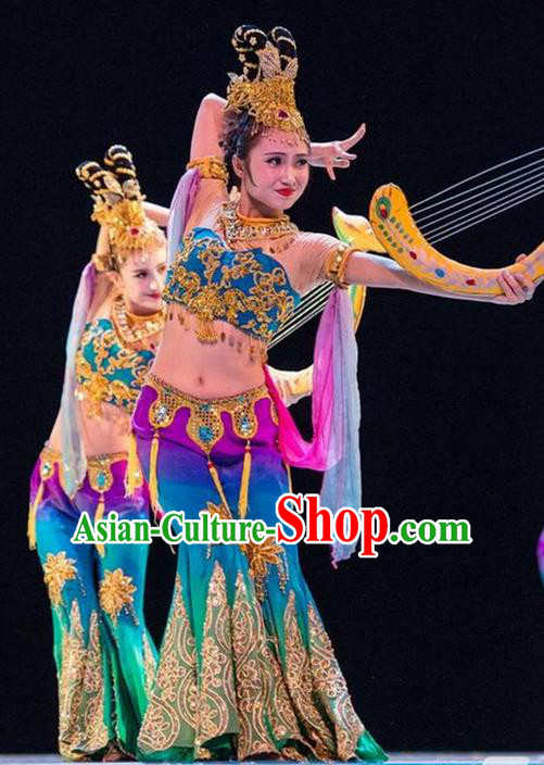 Traditional Chinese Ancient Palace Lady Dance Costume, Flying Dance Water Sleeve Clothing, Umbrella Dance Peri Dress for Women