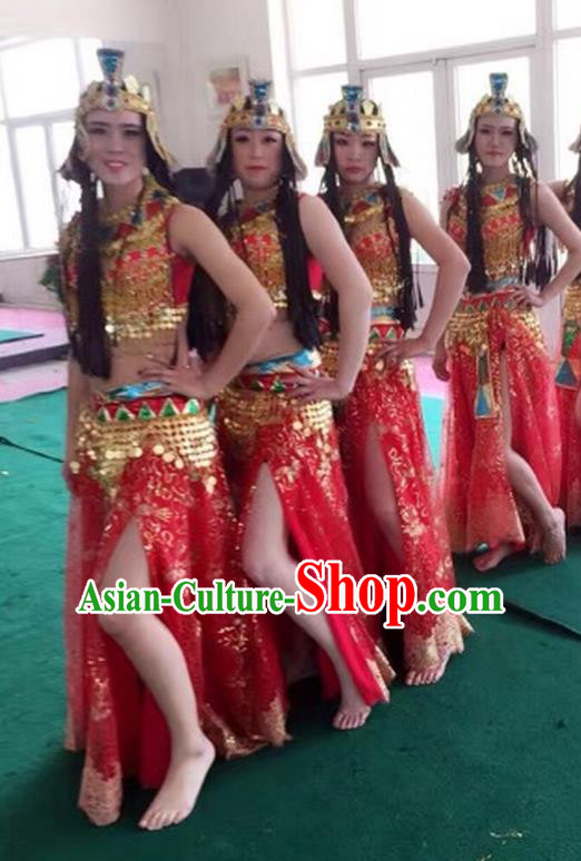 Top Grade Egypt Classic Stage Performance Dance Costumes, Egypt Belly Dance Red Dress for Women