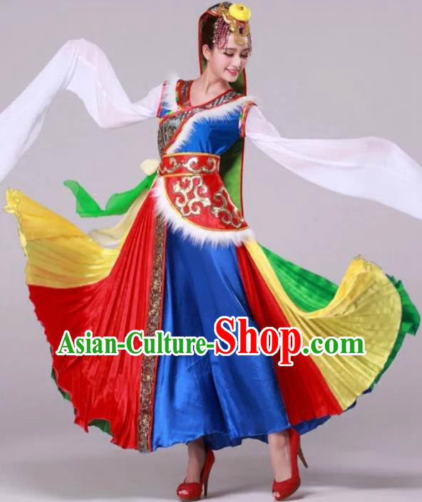 Traditional Chinese Zang Nationality Dancing Costume, Tibetan Female Dance Water Sleeve Dress, Chinese Minority Nationality Red Dress for Women