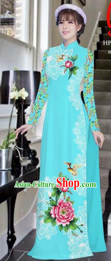Traditional Top Grade Asian Vietnamese Ha Festival Bride Printing Peony Blue Ao Dai Dress, Vietnam Women National Jing Nationality Princess Cheongsam Costumes
