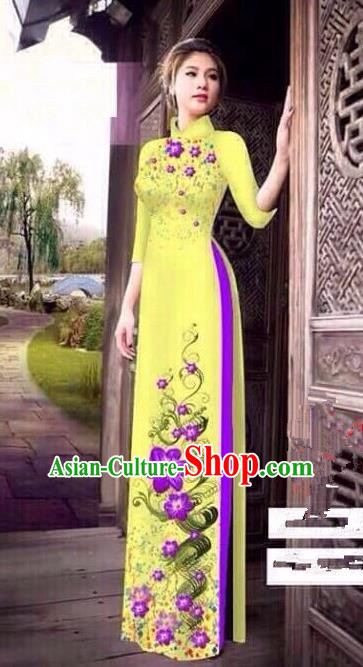 Traditional Top Grade Asian Vietnamese Ha Festival Bride Printing Ao Dai Dress, Vietnam Women National Jing Nationality Princess Cheongsam Costumes