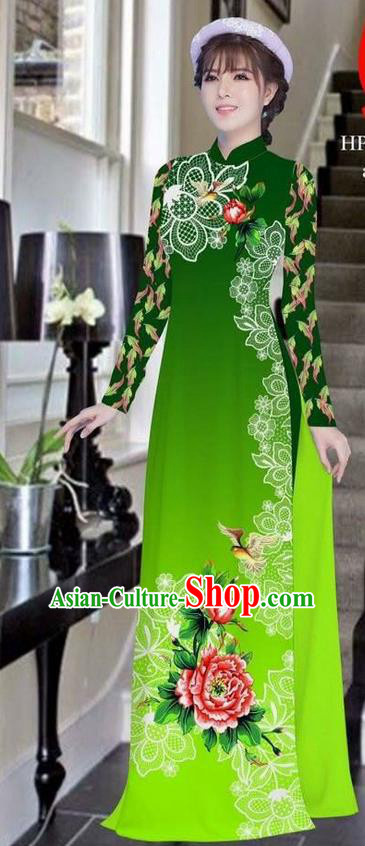 Traditional Top Grade Asian Vietnamese Ha Festival Bride Printing Peony Deep Green Ao Dai Dress, Vietnam Women National Jing Nationality Princess Cheongsam Costumes