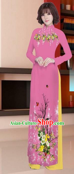 Traditional Top Grade Asian Vietnamese Ha Festival Printing Ao Dai Dress, Vietnam Women National Jing Nationality Princess Rosy Cheongsam Bride Costumes