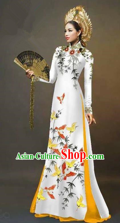 Traditional Top Grade Asian Vietnamese Ha Festival Printing Cranes Ao Dai Dress, Vietnam Women National Jing Nationality Queen Cheongsam Bride Costumes