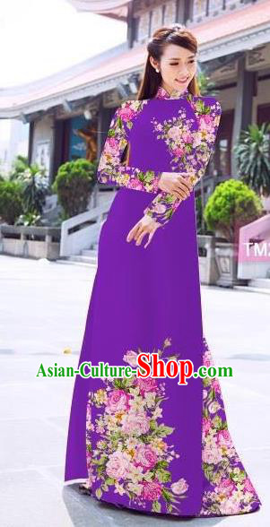 Traditional Top Grade Asian Vietnamese Ha Festival Printing Flowers Purple Ao Dai Dress, Vietnam Women National Jing Nationality Princess Cheongsam Bride Costumes