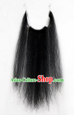 Chinese Ancient Opera Old Men Long Wig Beard, Traditional Chinese Beijing Opera Props Laosheng-role Black Mustache