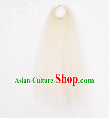 Chinese Ancient Opera Old Men White Long Wig Beard, Traditional Chinese Beijing Opera Props Laosheng-role Mustache
