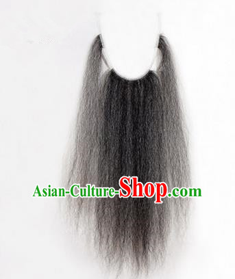 Chinese Ancient Opera Old Men Long Wig Beard, Traditional Chinese Beijing Opera Props Laosheng-role Grey Mustache