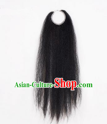 Chinese Ancient Opera Old Men Black Long Wig Beard, Traditional Chinese Beijing Opera Props Laosheng-role Mustache