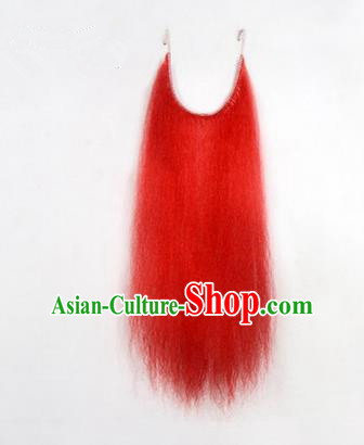 Chinese Ancient Opera Old Men Red Long Wig Beard, Traditional Chinese Beijing Opera Props Laosheng-role Mustache False Beard
