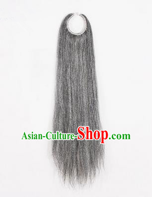Chinese Ancient Opera Old Men Grizzled Long Wig Beard, Traditional Chinese Beijing Opera Props Laosheng-role Mustache Pengtoucun False Beard
