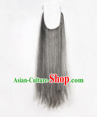 Chinese Ancient Opera Old Men Grizzled Long Wig Beard Whiskers, Traditional Chinese Beijing Opera Props Laosheng-role Mustache