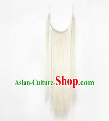 Chinese Ancient Opera Old Men White Long Wig Beard Three Strands Whiskers, Traditional Chinese Beijing Opera Props Laosheng-role Mustache