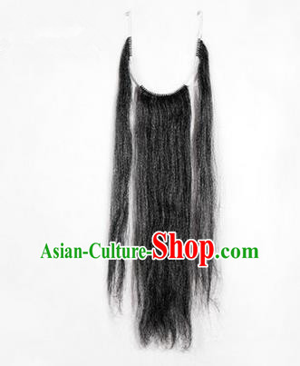 Chinese Ancient Opera Old Men Grey Long Wig Beard Three Strands Whiskers, Traditional Chinese Beijing Opera Props Laosheng-role Mustache