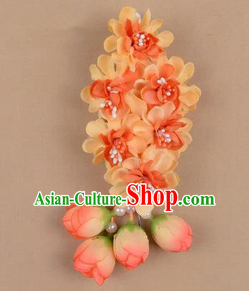 Chinese Ancient Peking Opera Orange Wisteria Flowers Hair Accessories, Traditional Chinese Beijing Opera Props Head Ornaments Hua Tan Headwear Hairpins