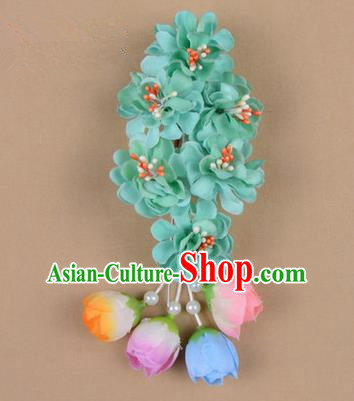 Chinese Ancient Peking Opera Green Wisteria Flowers Hair Accessories, Traditional Chinese Beijing Opera Props Head Ornaments Hua Tan Headwear Hairpins