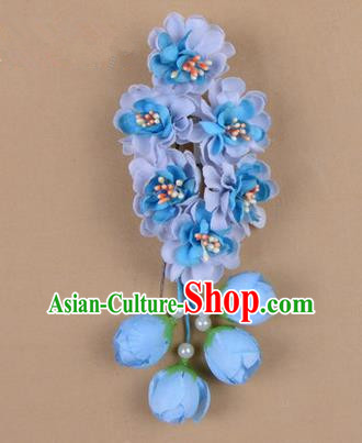 Chinese Ancient Peking Opera Blue Wisteria Flowers Hair Accessories, Traditional Chinese Beijing Opera Props Head Ornaments Hua Tan Headwear Hairpins