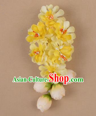 Chinese Ancient Peking Opera Yellow Wisteria Flowers Hair Accessories, Traditional Chinese Beijing Opera Props Head Ornaments Hua Tan Headwear Hairpins