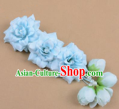 Chinese Ancient Peking Opera Blue Flowers Hair Accessories, Traditional Chinese Beijing Opera Props Head Ornaments Hua Tan Flocking Headwear Hairpins